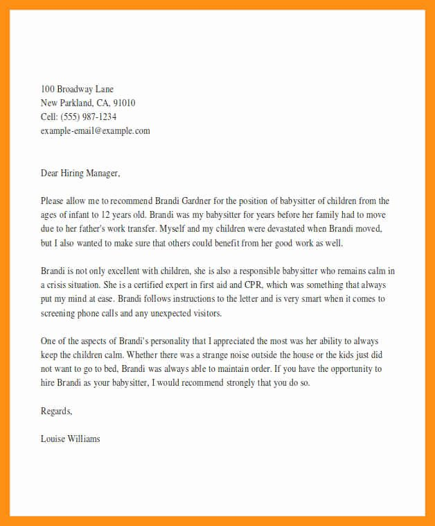 Nanny Letter Of Recommendation Luxury Letter Of Re Mendation Nanny