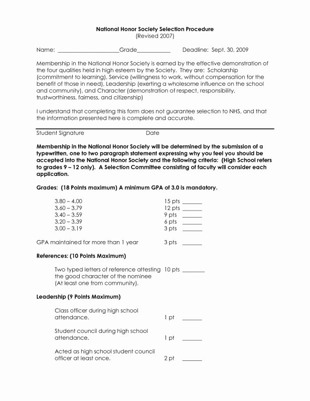 National Honor society Recommendation Letter Unique Nhs Re Mendation Letter Example