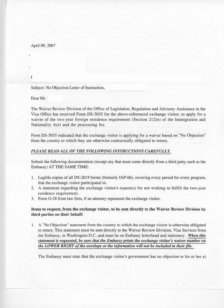 National Interest Waiver Recommendation Letter New J1 No Objection Letter Help