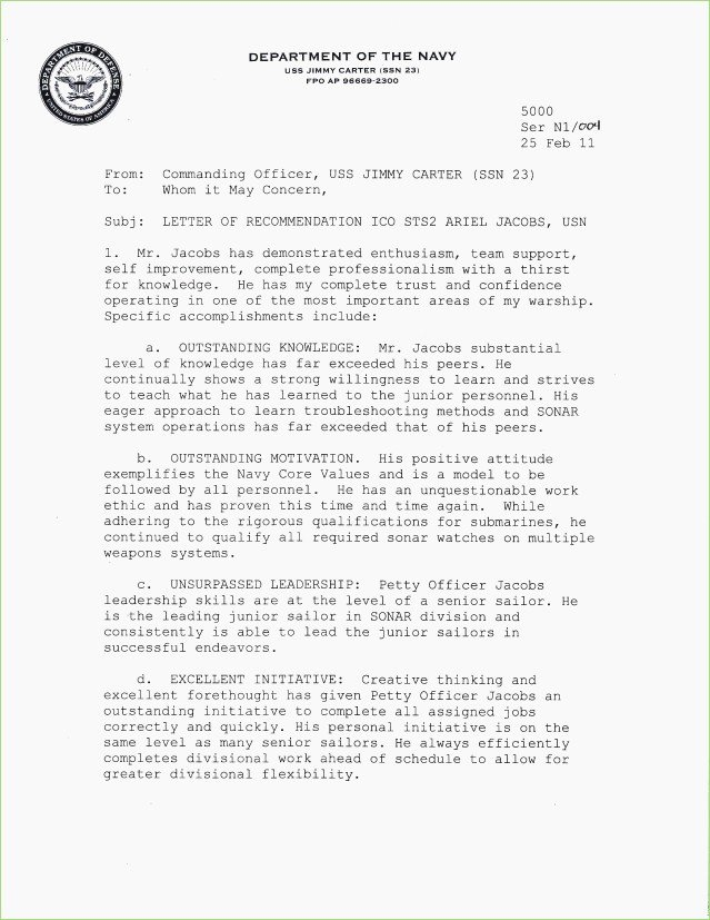 Naval Academy Recommendation Letter Elegant Navy Endorsement Letter format – thepizzashop