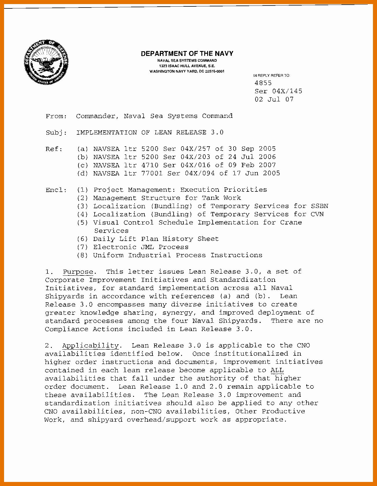 Naval Letter format Template Inspirational 5 6 Naval Letter format