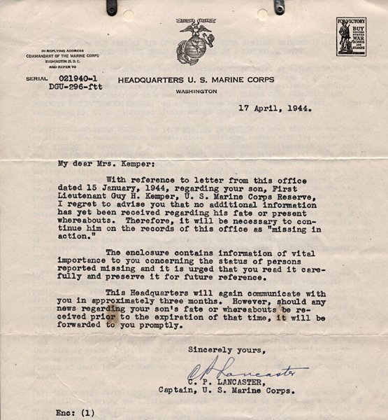 Naval Letter format Usmc Lovely aftermath April 1944