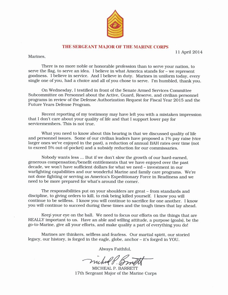 Naval Letter format Usmc Luxury Sgtmajor Of the Marine Corps issues Statement to Marines