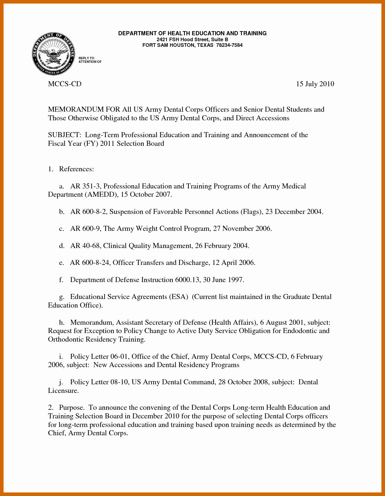 Naval Letter Of Recommendation Elegant 8 9 Military Letter formats