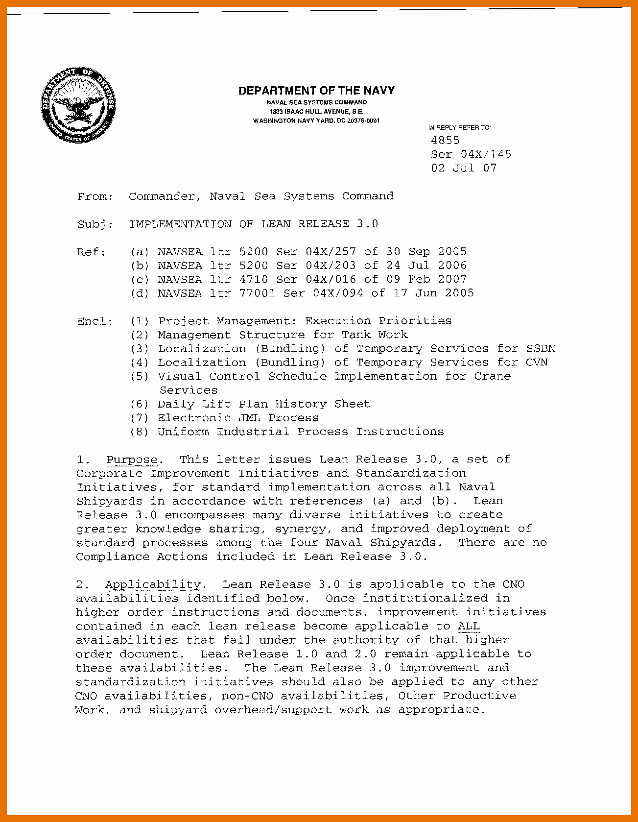 Navy Letter format Template Inspirational 5 6 Naval Letter format