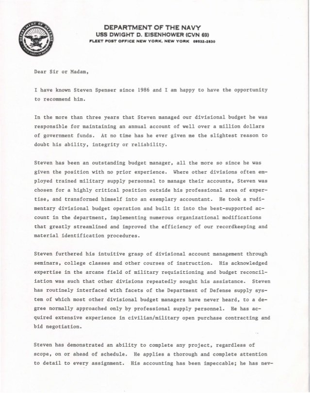 Navy Letter Of Recommendation Beautiful U S Navy Letter Of Re Mendation 1