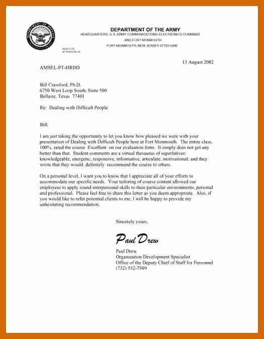 Navy Letter Of Recommendation Elegant 8 9 Military Letter formats