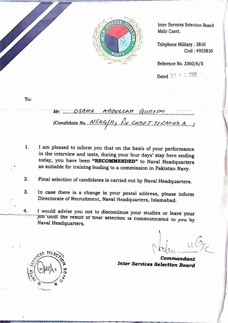 Navy Letter Of Recommendation New issb Pak Navy Letter Of Re Mendation