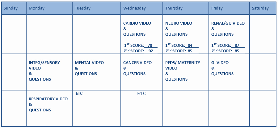 Nclex Study Plan Template Awesome Study Calendar Summit College