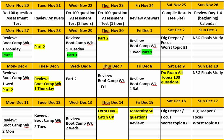 Nclex Study Plan Template Lovely Nclex Study Calendar – Nclex Test Line Review
