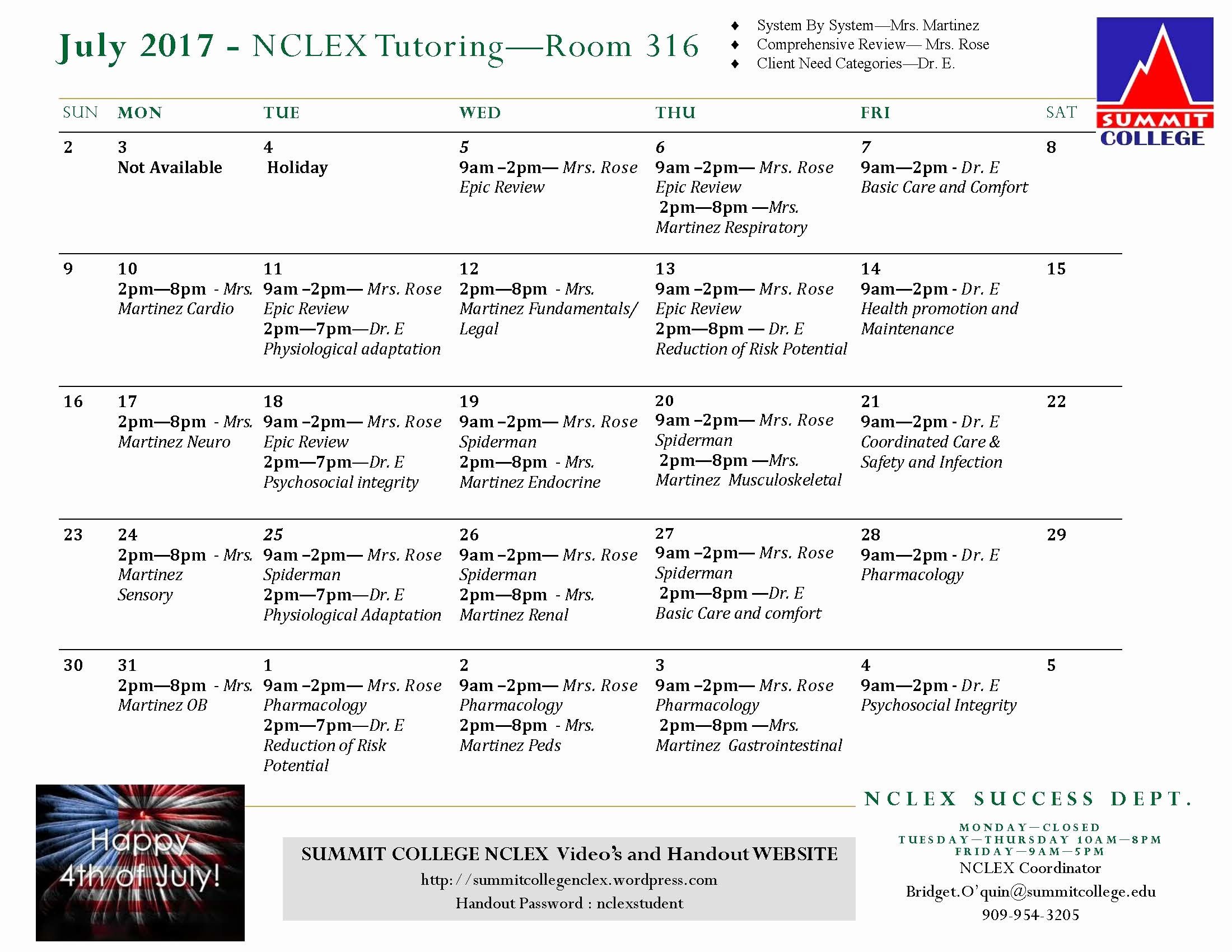 Nclex Study Plan Template New July 2017 – Nclex Tutoring – Room 316 Summit College