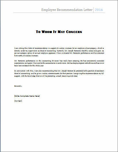 Negative Letter Of Recommendation Best Of Ms Word Employee Re Mendation Letter Template