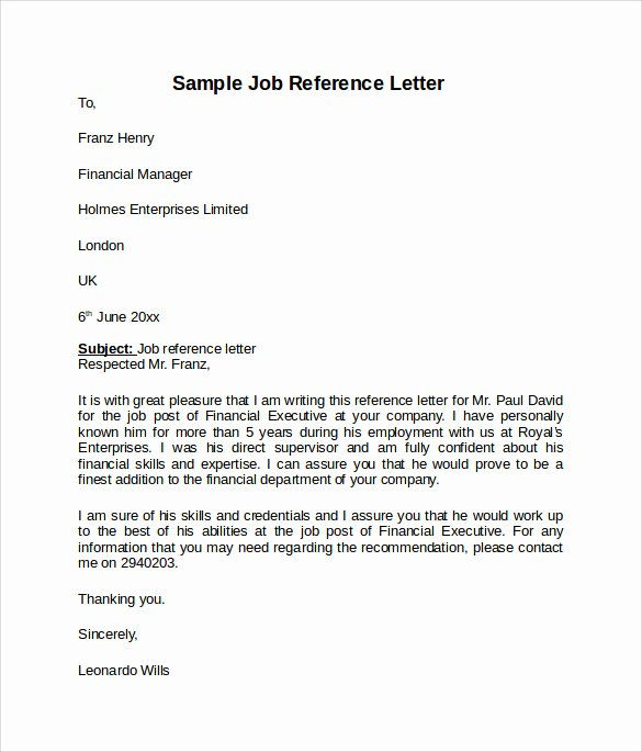 Negative Letter Of Recommendation Fresh Job Reference Letter 7 Free Samples Examples & formats