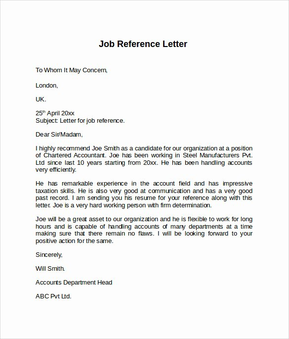 Negative Letter Of Recommendation Inspirational Job Reference Letter 7 Free Samples Examples & formats