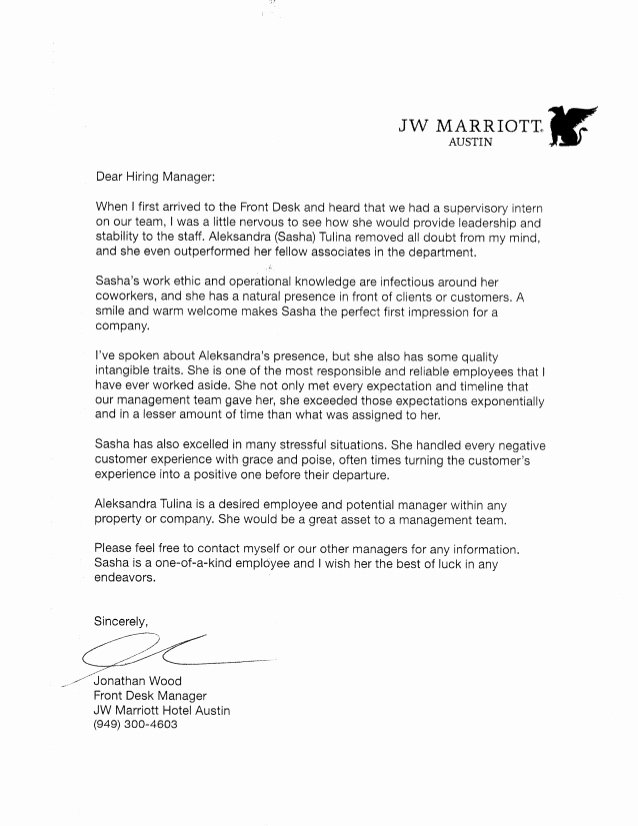 Negative Letter Of Recommendation Luxury Re Mendation Letter Jw Marriott