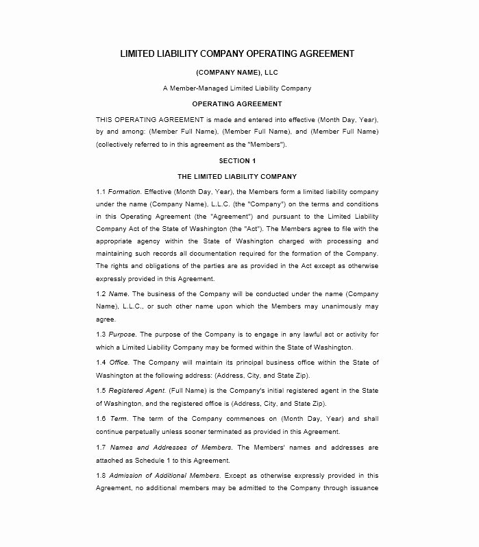 Net 30 Agreement Template Awesome 30 Free Professional Llc Operating Agreement Templates