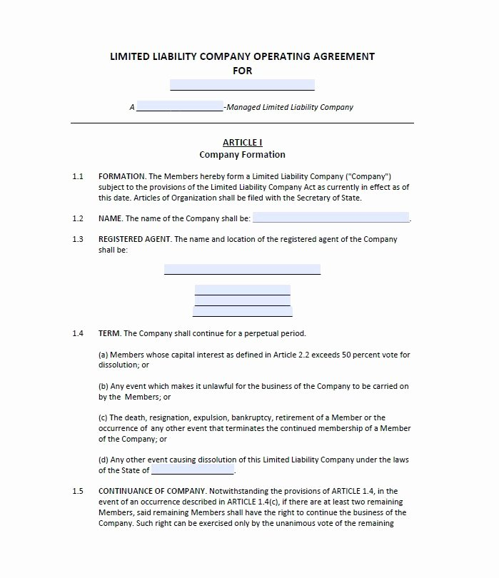 Net 30 Agreement Template Luxury 30 Free Professional Llc Operating Agreement Templates