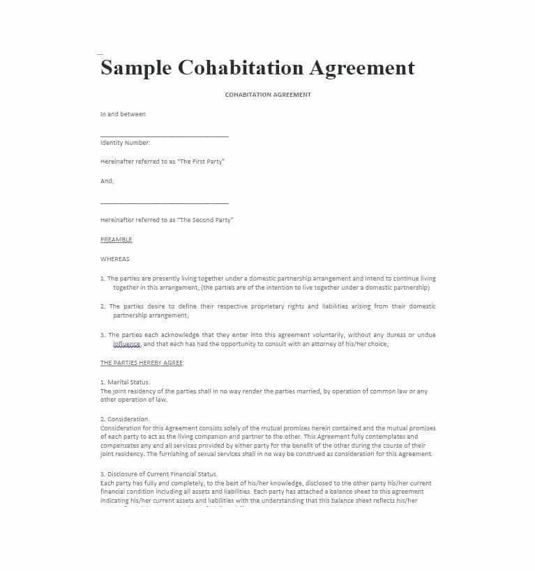 Net 30 Agreement Template New Free Printable Cohabitation Agreement