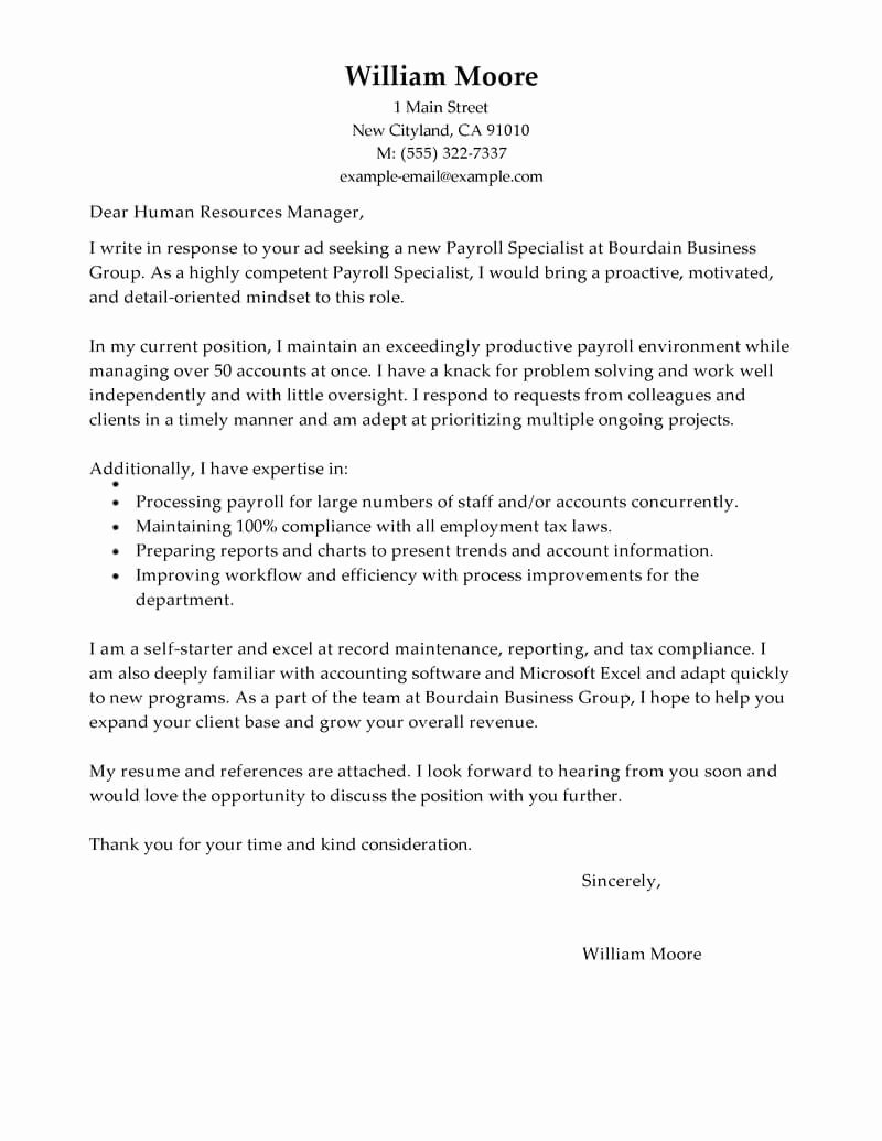New Client Welcome Letter Financial Advisor Unique Best Payroll Specialist Cover Letter Examples