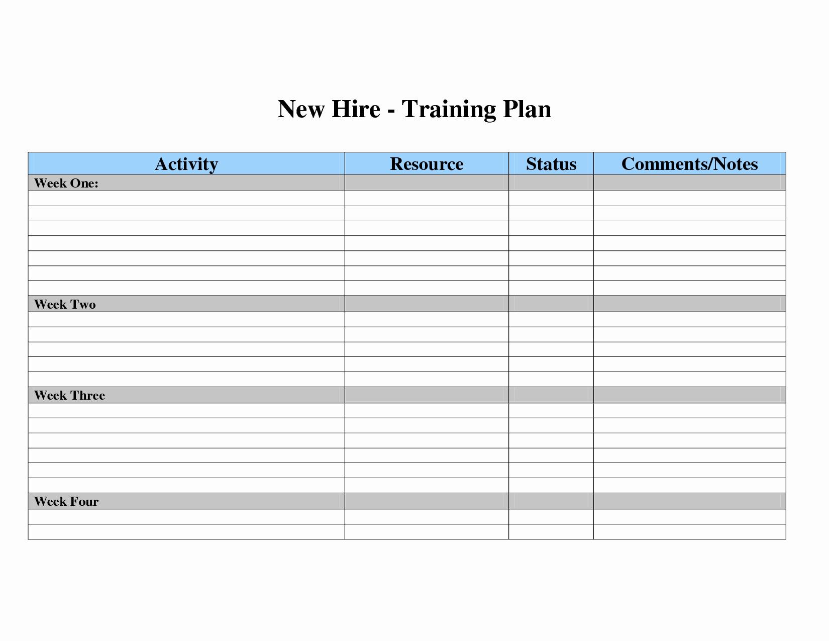 New Employee Training Plan Template Best Of Employee Training Plan Template