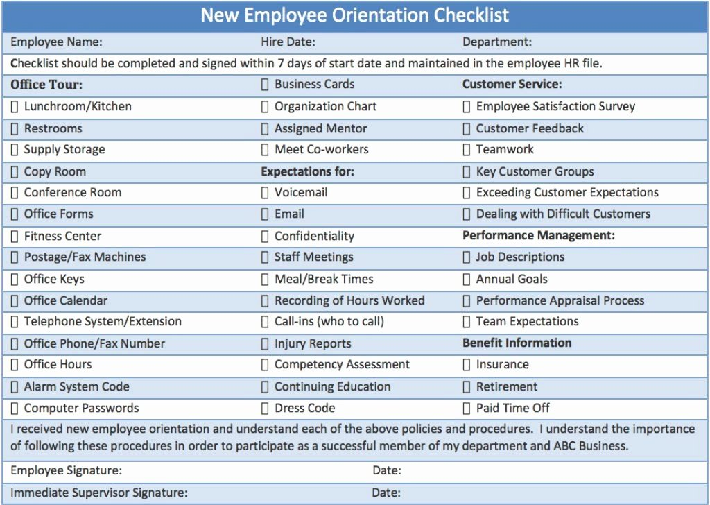 New Employee Training Plan Template Elegant New Employee orientation Checklist Career Info