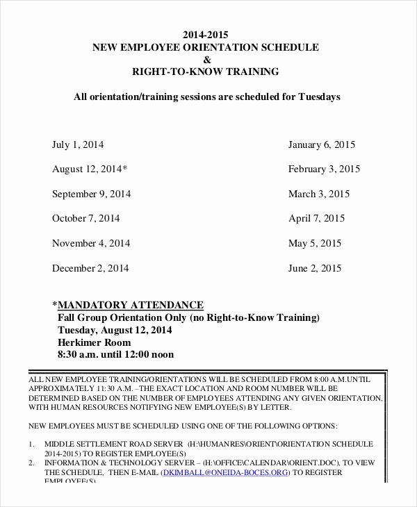 New Employee Training Plan Template New Employee Training Schedule Template 15 Free Word Pdf