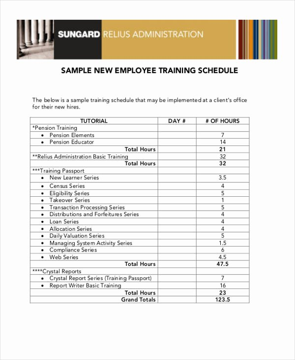 New Employee Training Plan Template Unique 13 Employee Training Schedule Template Free Sample