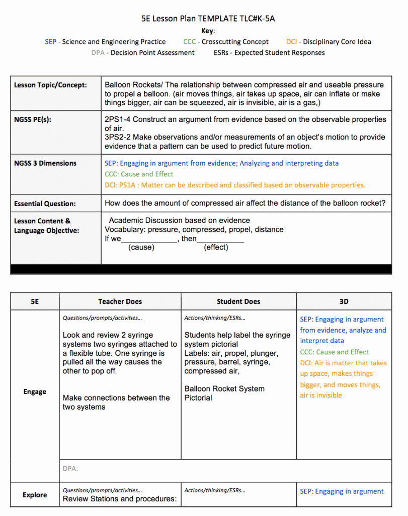 Ngss Lesson Plan Template Fresh 5e Lesson Plan Template Texas for Math Ngss