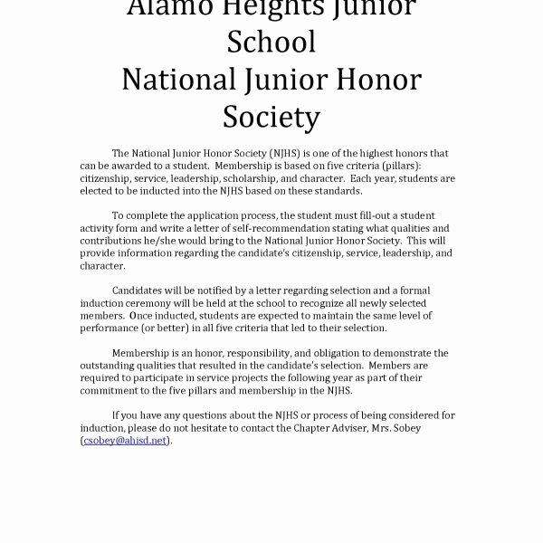 Nhs Letter Of Recommendation Awesome Sample Re Mendation Letter for National Honor society