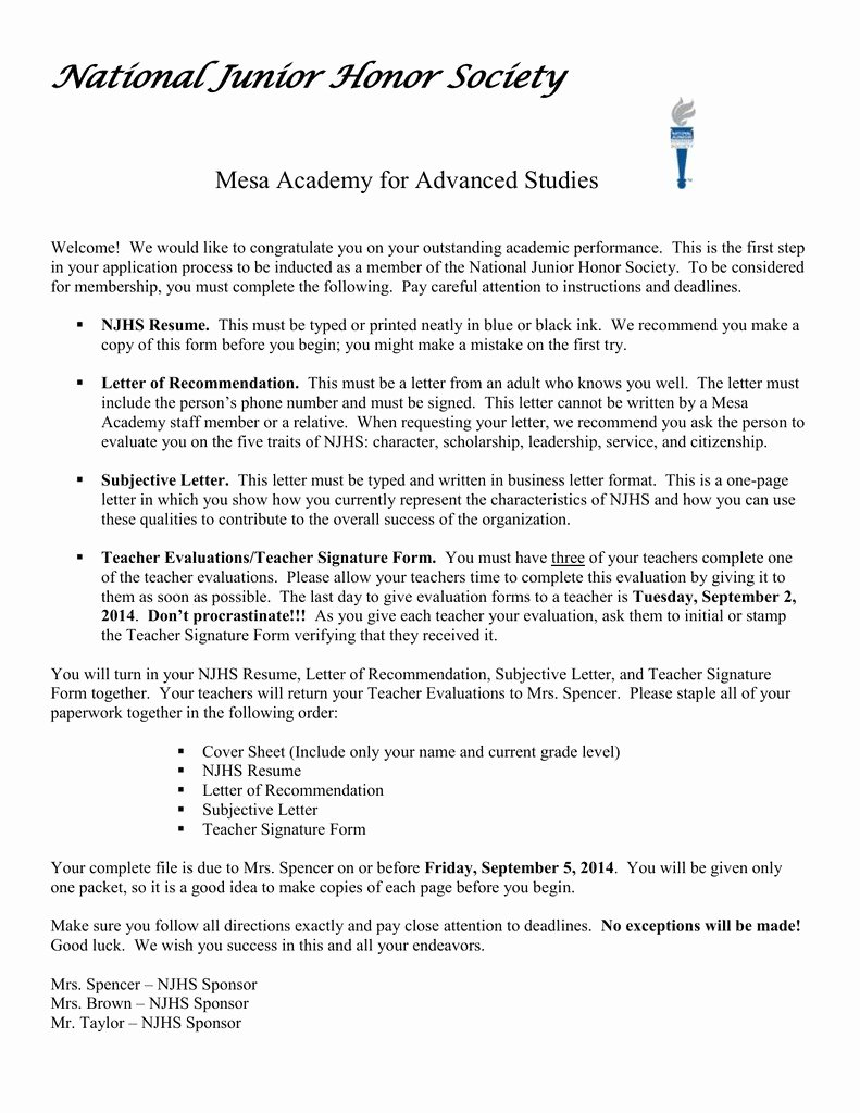 Nhs Letter Of Recommendation Beautiful Sample Re Mendation Letter for National Honor society