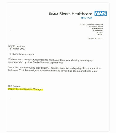 Nhs Letter Of Recommendation New Re Mendation Surgical Holdings