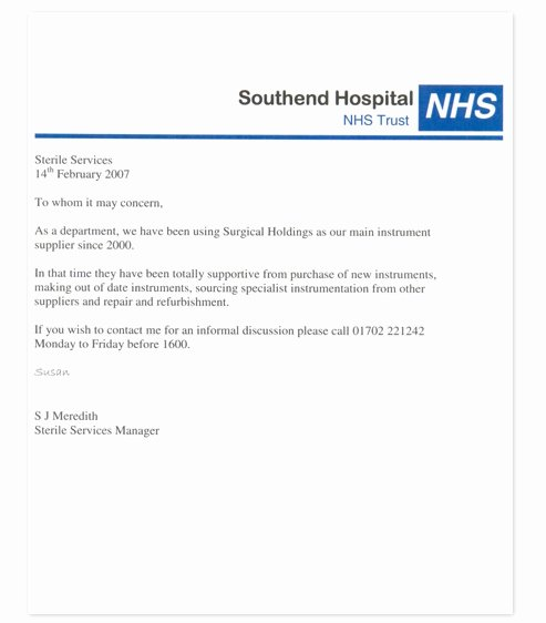 Nhs Letter Of Recommendation Sample Inspirational Re Mendation Surgical Holdings