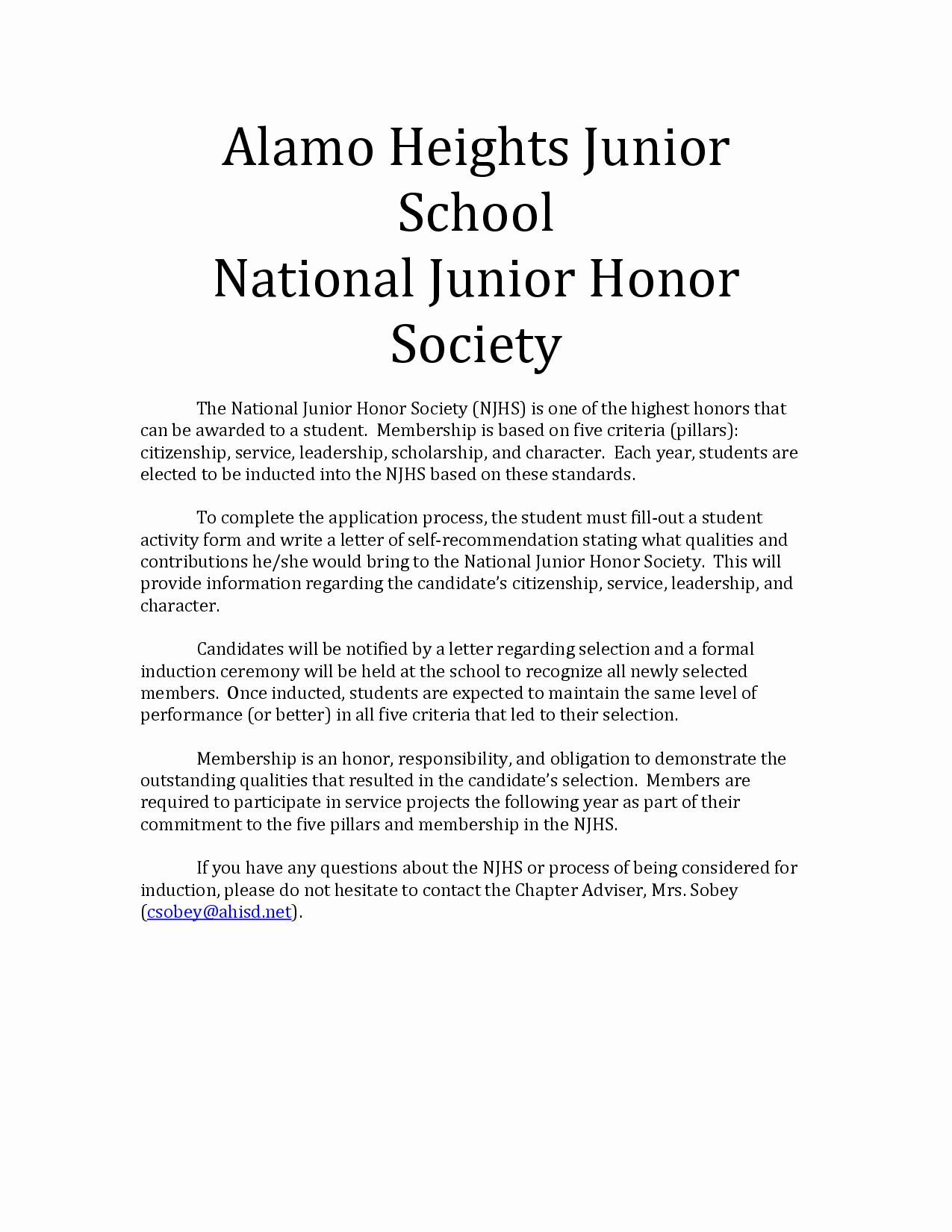 Nhs Letter Of Recommendation Unique Re Mendation Letter for National Honor society Free