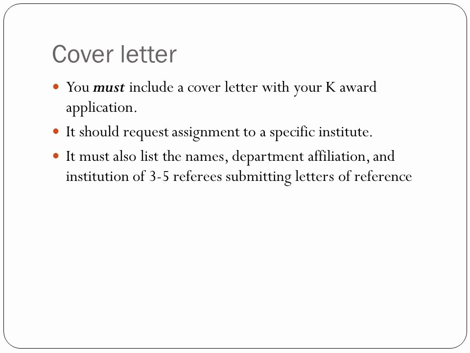 Nih Letter Of Recommendation Sample Best Of Writing Nih Career Development K Awards Ppt Video