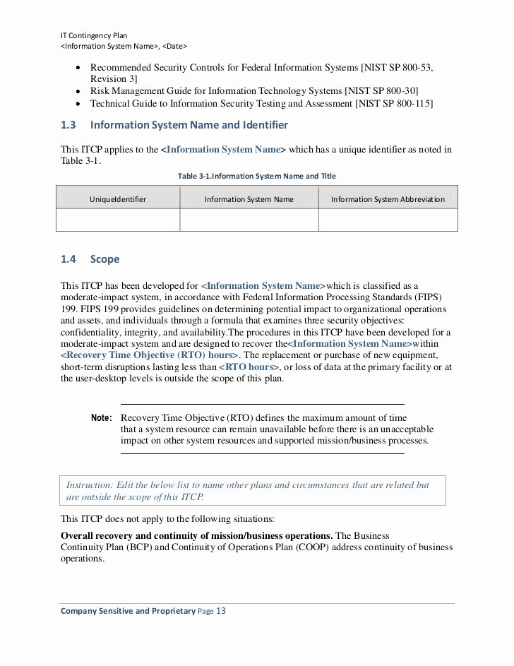 Nist Security assessment Plan Template Fresh Information Technology Contingency Plan Template