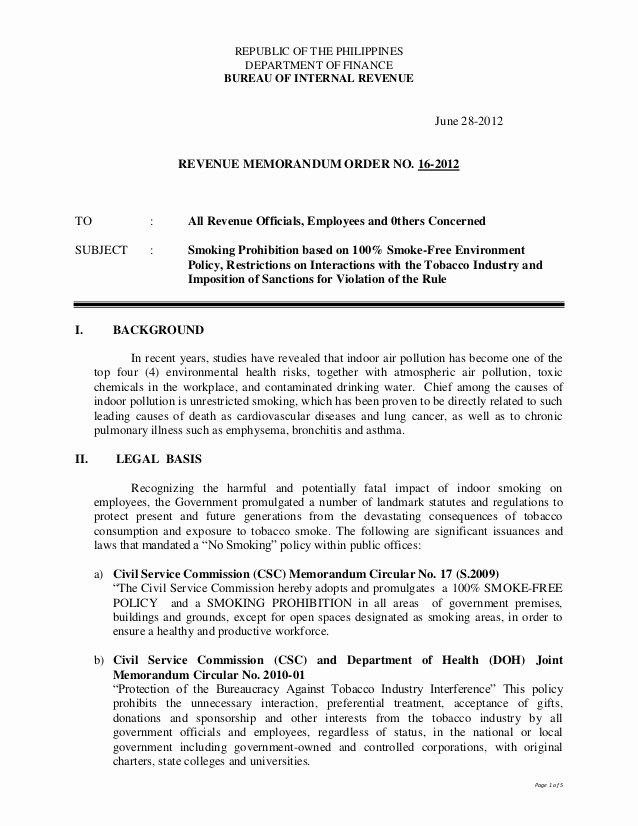 No Smoking Letter to Employees Beautiful Bir Revenue Memo order No 16 2012