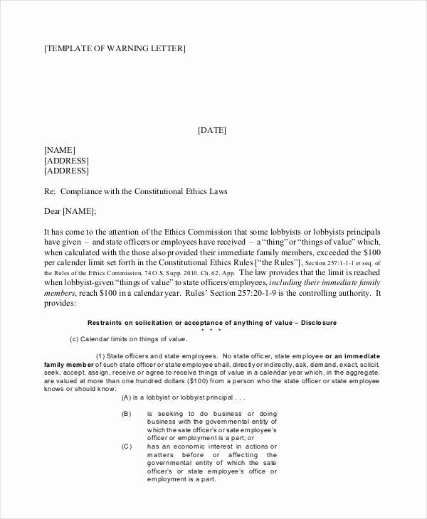 No Smoking Letter to Employees Fresh Pany Warning Letter Template 5 Free Word Pdf format