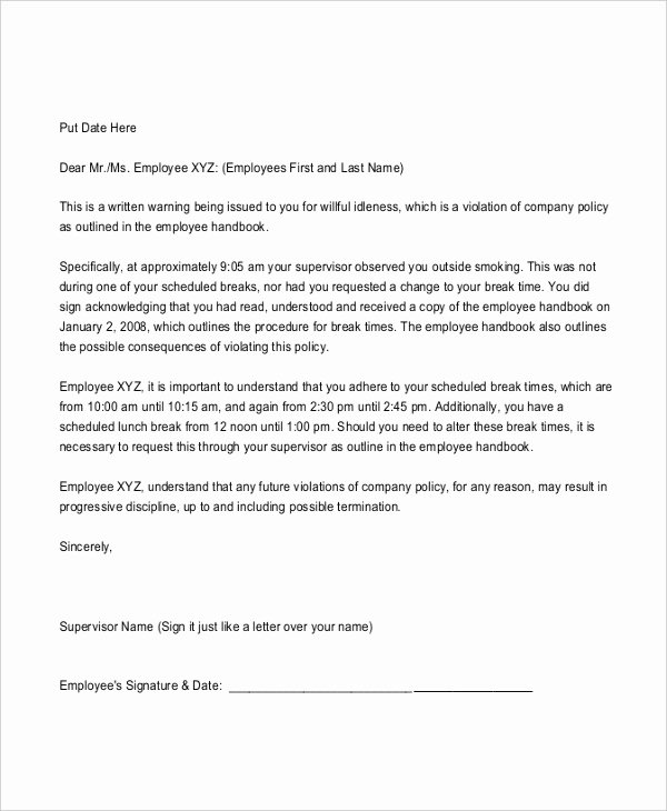 No Smoking Letter to Employees Luxury Professional Warning Letter Template 6 Free Word Pdf