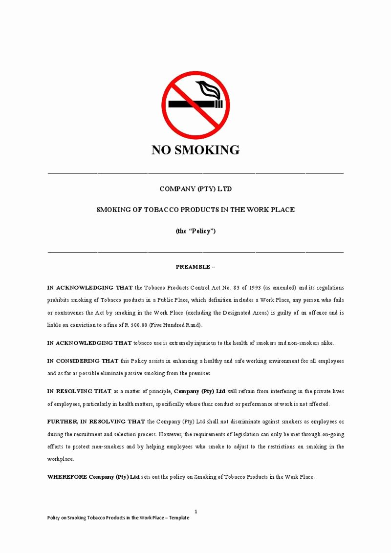 No Smoking Letter to Employees Luxury Smoking Policy Template No Smoking Sign Template Sample