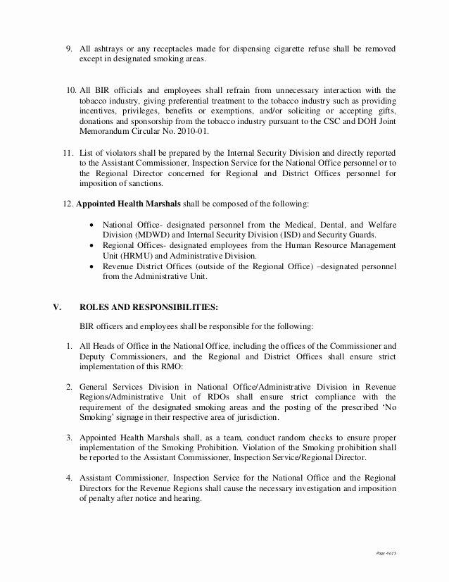 No Smoking Letter to Employees New Bir Revenue Memo order No 16 2012