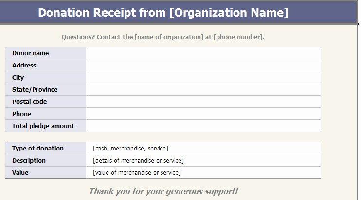 Non Cash Donation Receipt Template Awesome 501c3 Donation Receipt