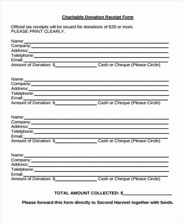 Non Cash Donation Receipt Template Beautiful 36 Printable Receipt forms