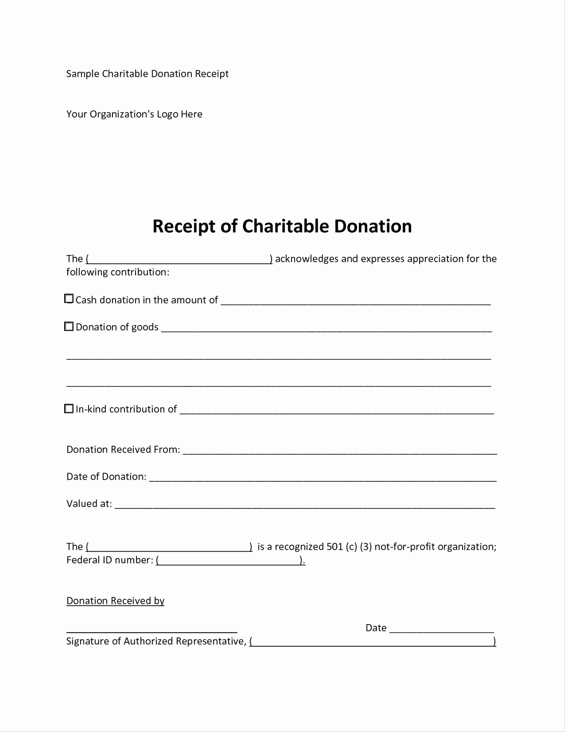 Non Cash Donation Receipt Template Beautiful Charitable Donation Worksheet Spreadsheet Template Non