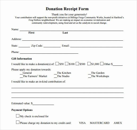 Non Cash Donation Receipt Template Elegant 10 Donation Receipt Templates – Free Samples Examples