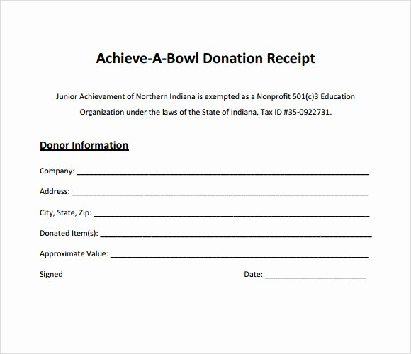 Non Cash Donation Receipt Template Elegant Charitable Donation form Template