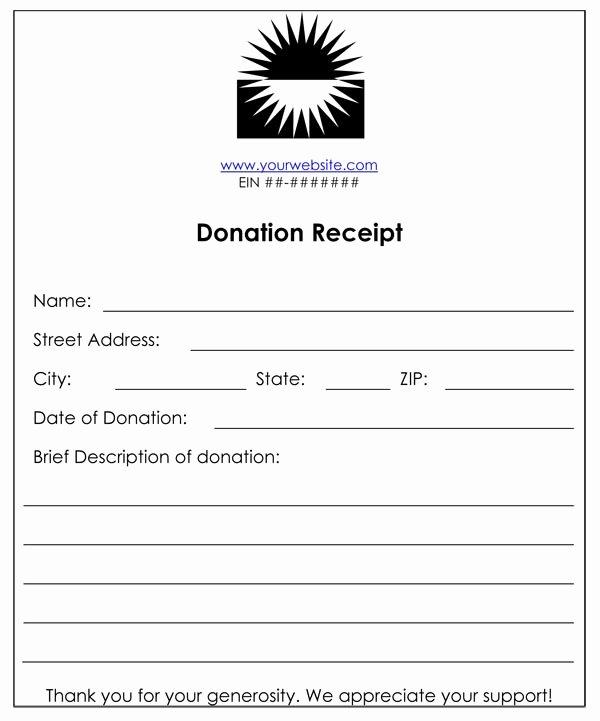 Non Cash Donation Receipt Template Fresh Non Profit Donation Receipt