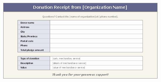 Non Cash Donation Receipt Template Inspirational Donation Receipt