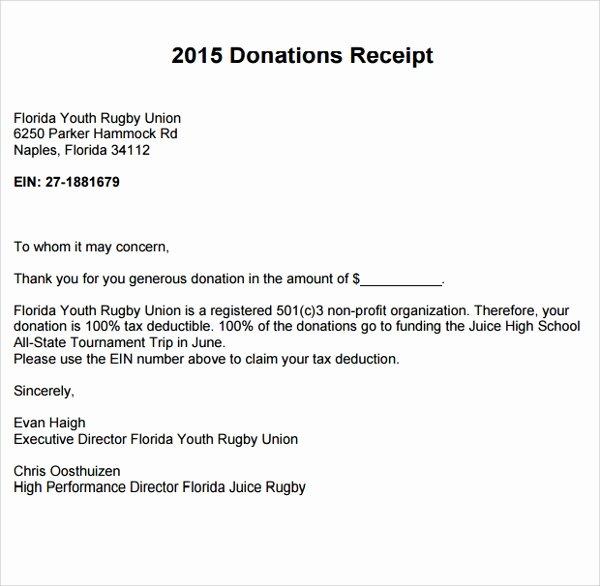 Non Cash Donation Receipt Template Luxury 10 Fundraiser Receipt Templates