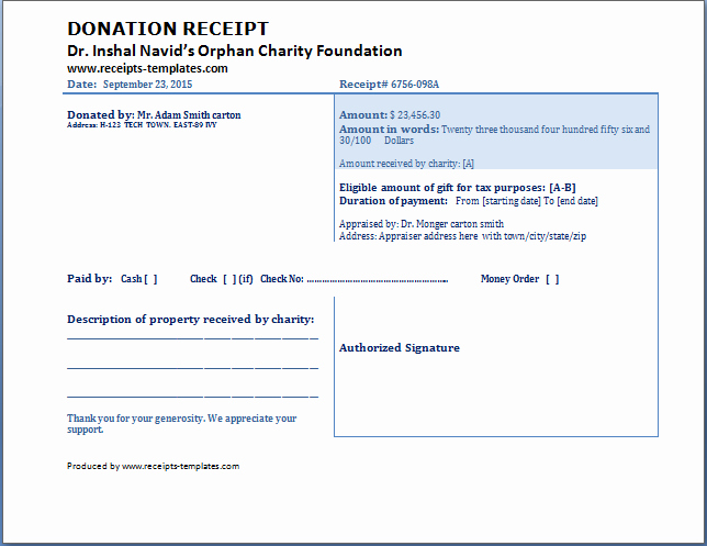 Non Cash Donation Receipt Template Luxury Charitable Donation Receipt Template Free Download Aashe