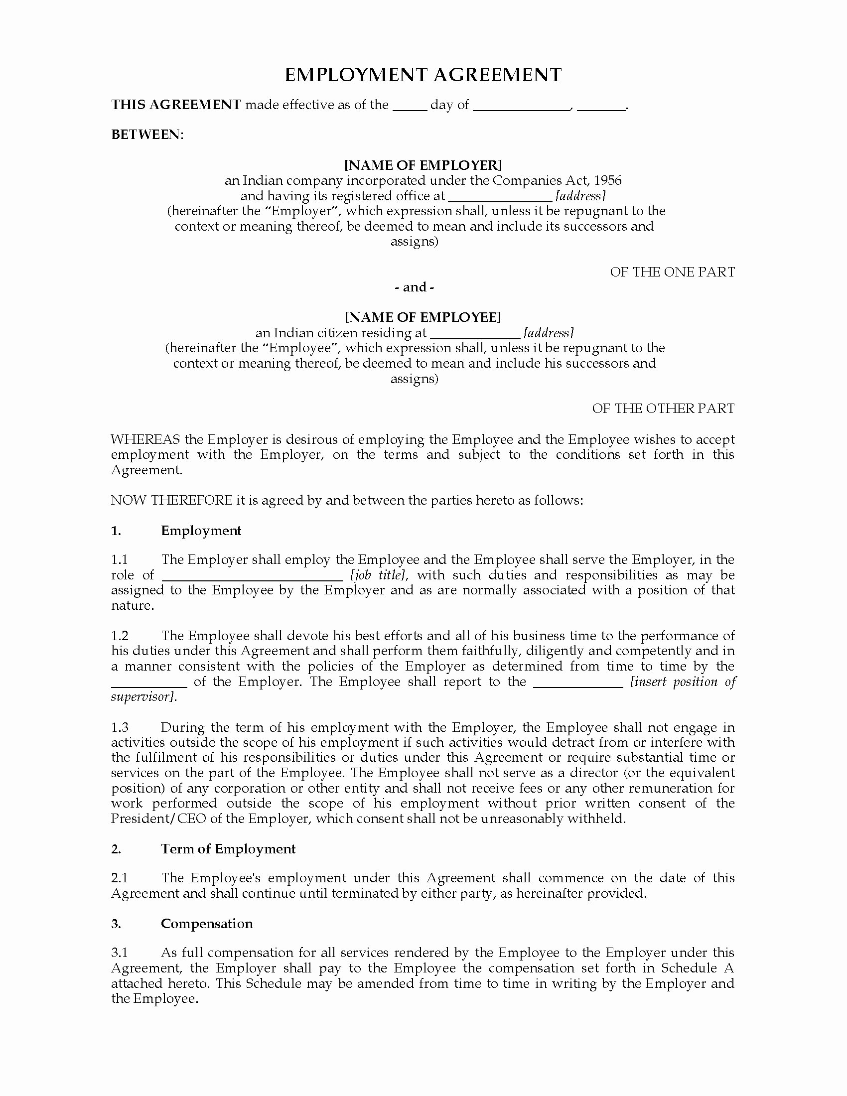 Non Compete Agreement Georgia Template Best Of India Employment Agreement form